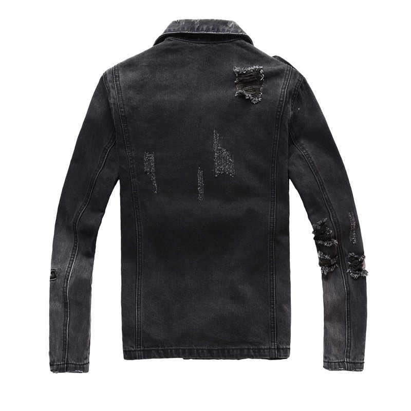 Alta qualidade dos homens pista motocicleta motociclista preto denim jaqueta fino zíper outono casaco buraco rasgado alta rua moda jaqueta jean