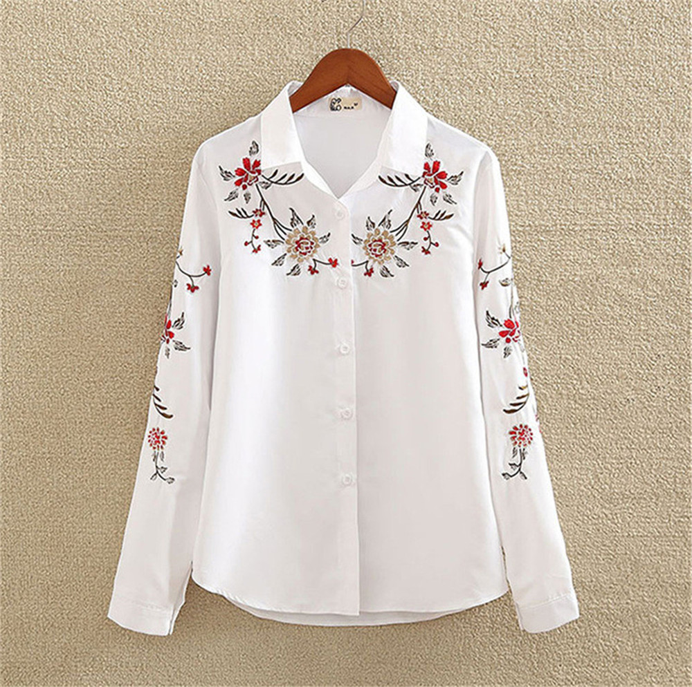 Floral Embroidery White Shirt Blouse  2020 Spring Casual TopTurn Down Collar Long Sleeve Cotton Women's Blouse Feminina 1518 (10)