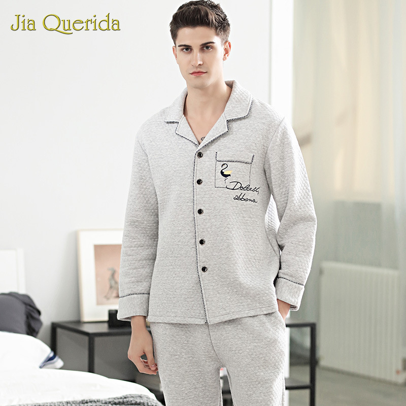 Pijama Mans 100% Cotton Padded Mens Set Winter Long Sleeves Cardigan Lapel Button Flamingo Embroidery Pocket Fashion Pyjamas Men