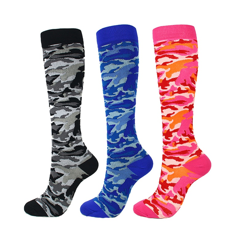 Camouflage Compression Socks For Women Men Knee High Printed Polyester Nylon Hosiery Footwear Outdoor Sports Casual Socks