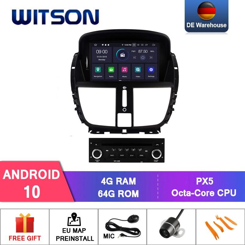 Tela hd witson, android 10.0 ips para peugeot 207 207cc carro dvd 4gb ram + 64gb flash 8 núcleo octa core + dvr/wifi + dsp + dab + obd