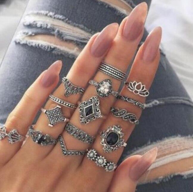 9 デザイン自由奔放に生きるヴィンテージゴールドスターミディムーン女性のためのオパールクリスタルミディ指輪 2019 女性ボヘミアン宝石類のギフト
