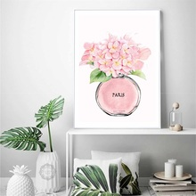 Perfume Pink Hydrangea Flower Wall Art Canvas Painting Nordic Posters And Prints Watercolor Pictures For Living Room Decor