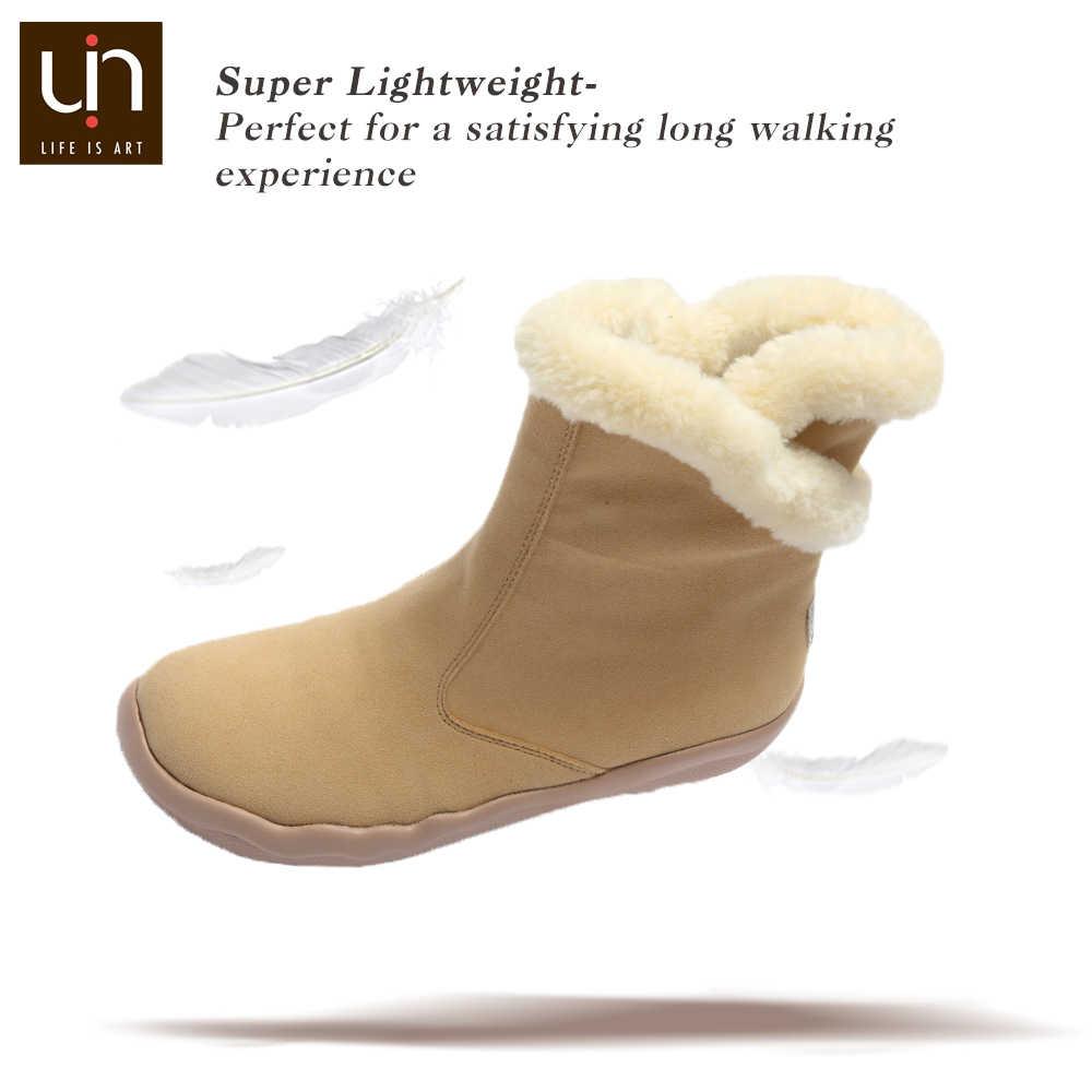 UIN Hakkar Seri Hangat Musim Gugur/Sepatu Bot Musim Dingin Wanita Bulu Fashion Sepatu Bot Hitam/Khaki Warna Wanita Kasual Sepatu Datar ringan