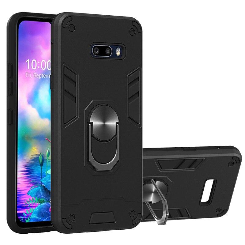 For LG G8X V50S Case Shockproof Armor Kickstand Phone Case For LG K40 K50 K30 2019 Finger Magnetic Ring Holder Anti-Fall Cover