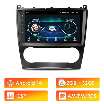 2 Din Car Multimedia Player Android 10 GPS Autoradio For Mercedes Benz C Class W203 C200 C230 C240 C320 C350 CLK W209 2005-2009 image