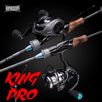цена на Kingdom King Pro Combo Carbon Fishing Rod Spinning/Casting Rod&Reel&Free Line 2/3/4 Section Lure Feeder Rod For Winter Fishing