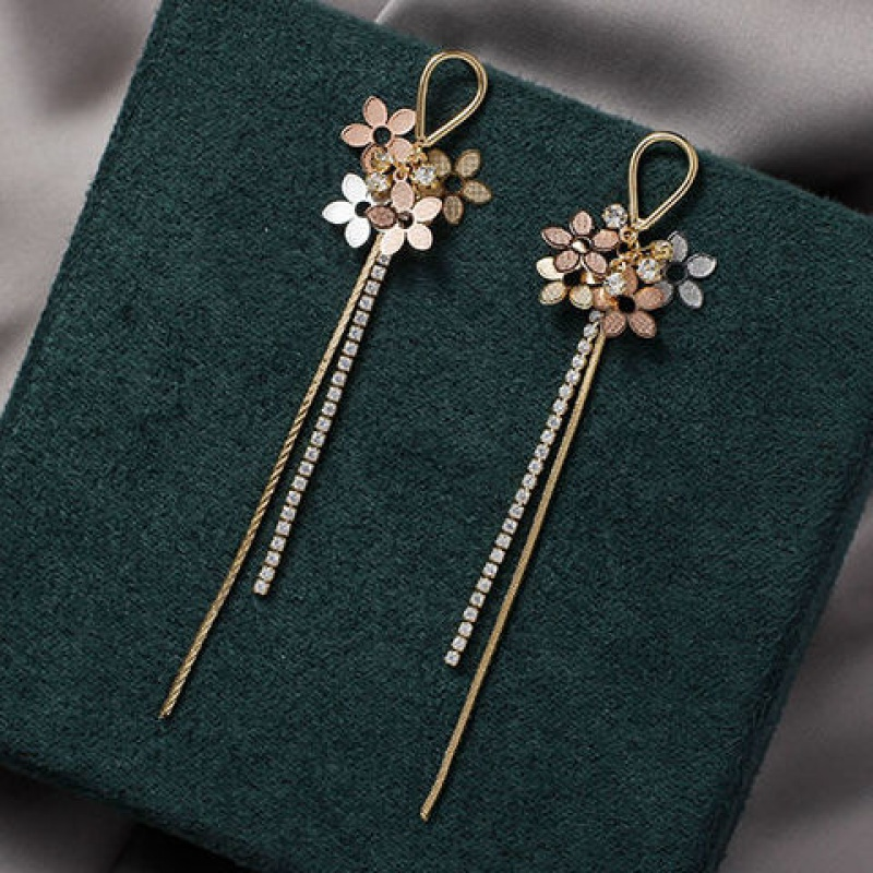 Small flower long tassel earrings 2020 new earrings temperament simple high-quality Korean ear jewelry Fashion Stud Earrings