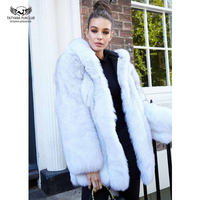 2019 Fashion Famale Real Fox Fur Coat With Hood Genuine Thick Winter Warm Fox Fur Jacket Long Woman Overcoat Natural Fur Coats