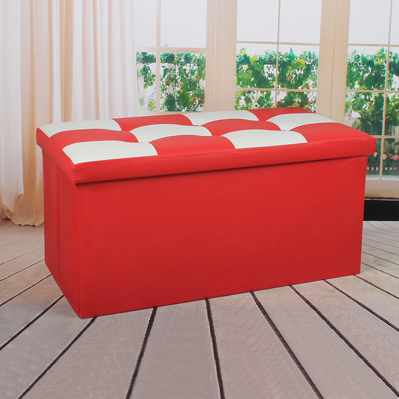 PU Leather Storage Bar-shaped Stool-Style Storage Manicure Bedside Strip Sofa Stool Footstool A- Line Sofa Chair