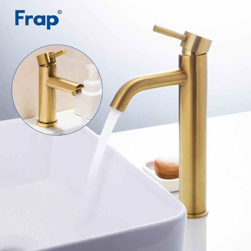 Robinets de lavabo Frap or brossé robinet de salle de bain robinet de lavabo en acier inoxydable robinet mitigeur robinet d'eau torneira tapware