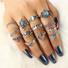 13 pcs/set Finger Ring Set For Women Heart Totem Hollow Crown Turtle Elephant Blue Crystal Water Drop Knuckle Ring Accessories(China)
