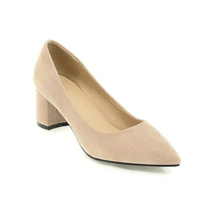 Image 3 - ZawsThia עבה גבוהה עקבים נעלי נשים משאבות נעלי עבודת בוהן מחודדת להחליק על עקבים גבוהים אביב הנעלה גדול גודל 42 43 אדום צהוב