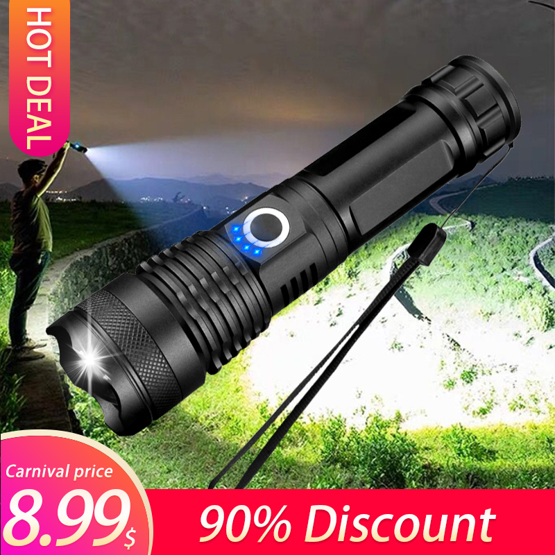 160000 LM Lamp Xhp50.2 Most Powerful Flashlight Usb Zoom Led Torch Xhp50 18650 Or 26650 Rechargeable Battery For Hunting
