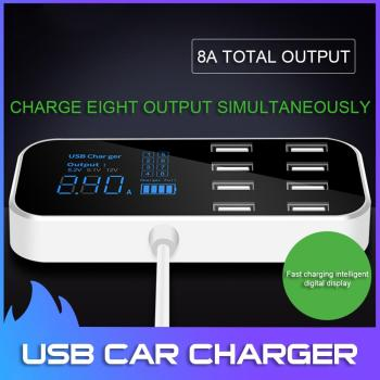 CIBO Multi-Port USB Charger Quick for Car 8-Port Car Lighter Charging Station Hub with LCD Display Universal Mobile Phone 40W цена 2017