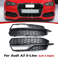Black Right/Left Front Bumper Fog Light Mesh Grill Grille For Audi A3 S Line 2014 2015 2016 A3 2013 2014 2015 2016 2017 New