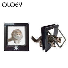Pet Dog Cat Flap Door with 4 Way Lockable Security for Small Animal Gate Protect Safe Supplies
