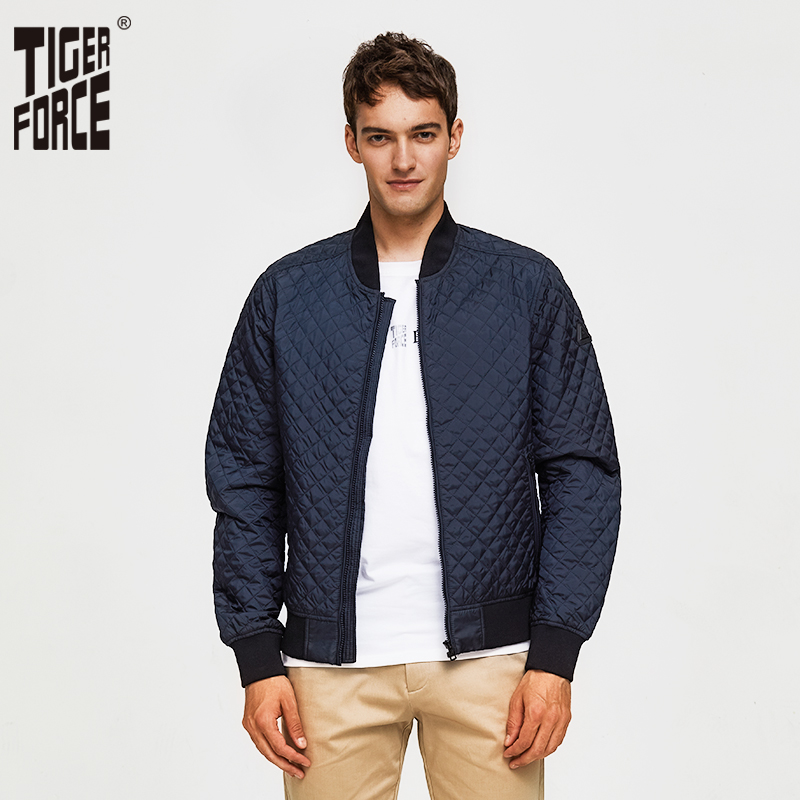 Tiger Force 2019 Argyle Men Bomber Jacket Men's Spring Jacket  Fashion Autumn Windbreaker High Quality Men Coat Outerwear