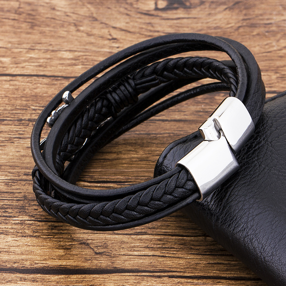 Charm Stainless Steel Jewelry Pirate Braided Black Handmade Genuine Leather Bracelets For Men Magnetic Rope Accessories