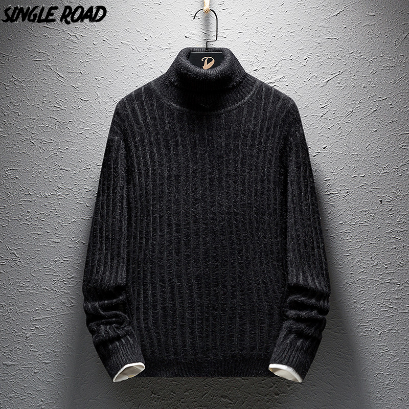 SingleRoad Solid Stripes Turtleneck Sweater Men 2019 Winter Fleece Pullover Sweaters Male Warm Knitted Wool Sweater Korean Style