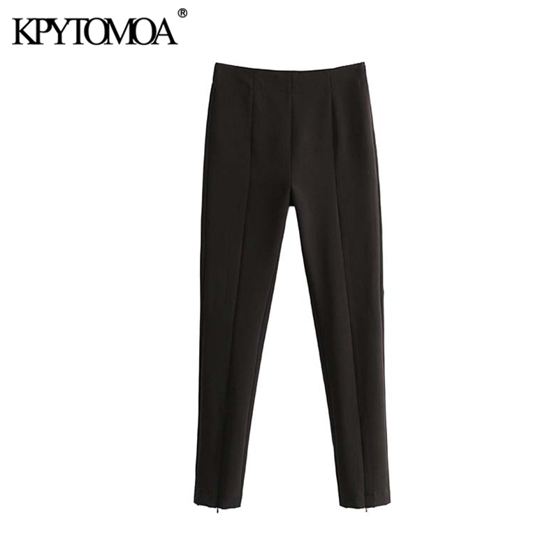 Vintage Stylish Office Wear High Waist Skinny Pants Women 2020 Fashion Side Zipper Female Ankle Trousers Pantalones Mujer