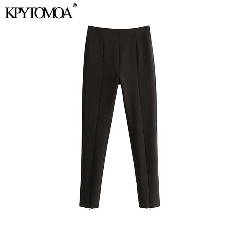 Vintage Stylish Office Wear High Waist Skinny Pants Women 2020 Fashion Side Zipper Female Ankle Trousers Pantalones Mujer
