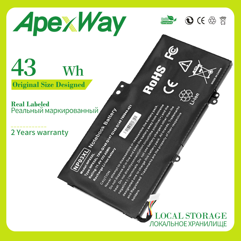 Apexway 43WH NP03XL Laptop Battery for <font><b>HP</b></font> Pavilion X360 <font><b>13</b></font>-A010DX TPN-Q146 TPN-Q147 TPN-Q148 HSTNN-LB6L 760944-421 15-U010DX image