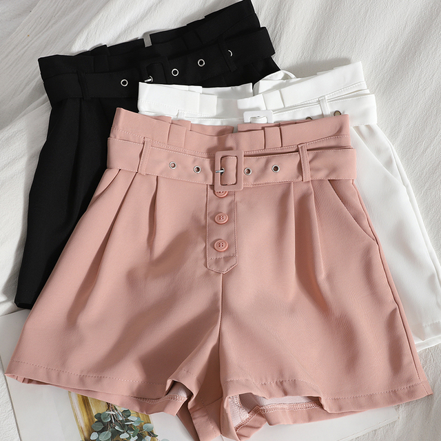 Ashgaily 2021 New Shorts Women Vintage Sashes All-match Solid High Waist Shorts Casual Loose Ladies XL 2