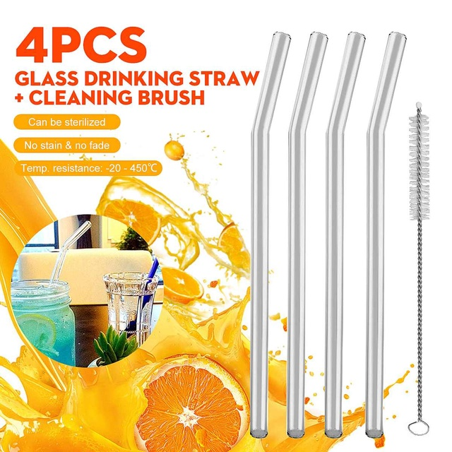 4Pcs Glass Drinking Straw Reusable Clear Bent Water Juice Sucker Straight Tube with Cleaning Brush Events Party Supplies
