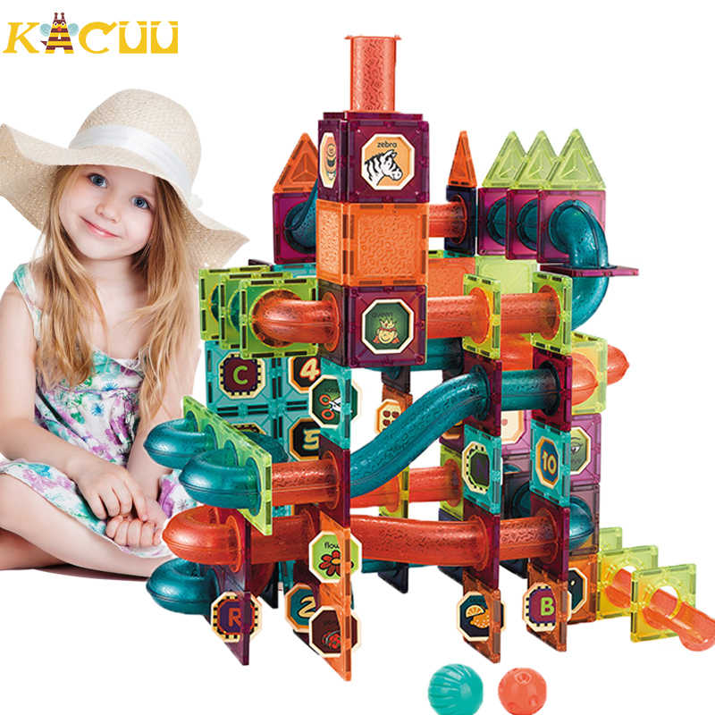 DIY Magnetic Building Blocks Toys Sets Magnet Maze Ball Tracks Blocks Magnetic Funnel Slide Blocks Educational Toys For Children