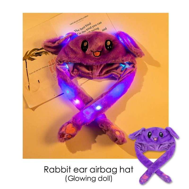 Lovely Luminous Rabbit Ears Hat Airbag Toy Hat Shake Move Ears Cut Cap Cosplay Costume Toy Children Gift Cosplay Accessories
