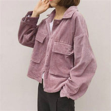 new fall Women baseball Corduroy Jacket Top loose lapel Shirt Coat Casual Vintage Oversize solid color cool short jackets New(China)