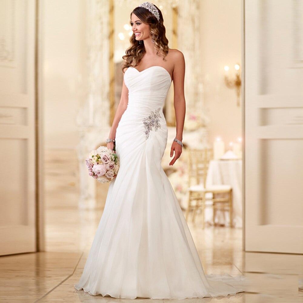 CHIFFON PLEAT CRYSTALS SWEETHEART NECK WRAP TRUMPET WEDDING DRESSES GOOD SALE BRIDAL DRESS CUSTOM MADE