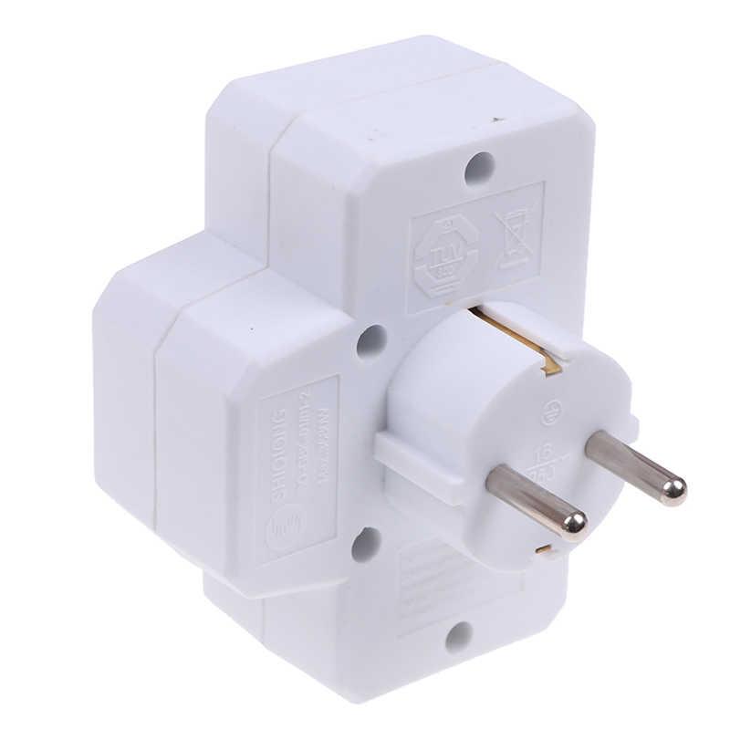 Eropa Jenis Konversi Plug 1 untuk 3 Cara Standar Uni Eropa Power Adaptor Soket 16A Perjalanan Colokan dengan Switch