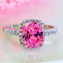 Luxury Female Girl Princess Pink Stone Ring Boho 925 Sterling Silver Wedding Band Ring Promise Love Engagement Rings For Women(China)