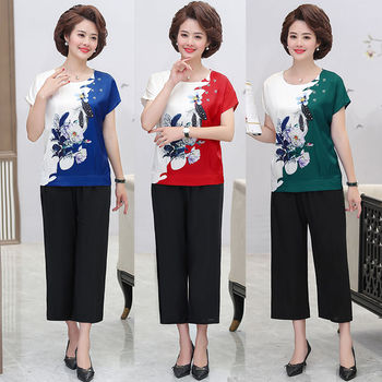 New Summer Suit Women Short-sleeved T-shirt pant Two-piece outfits Sets Printed Pullovers Plus size matching Sets top and pants 1