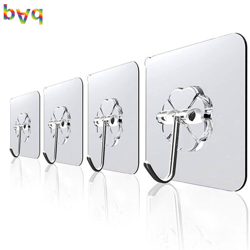 Wall Hook Transparent Suction Sucker Hanger Waterproof Adhesive Heavy Load Rack Stainless Steel Hook Cintre Key Holder Wall