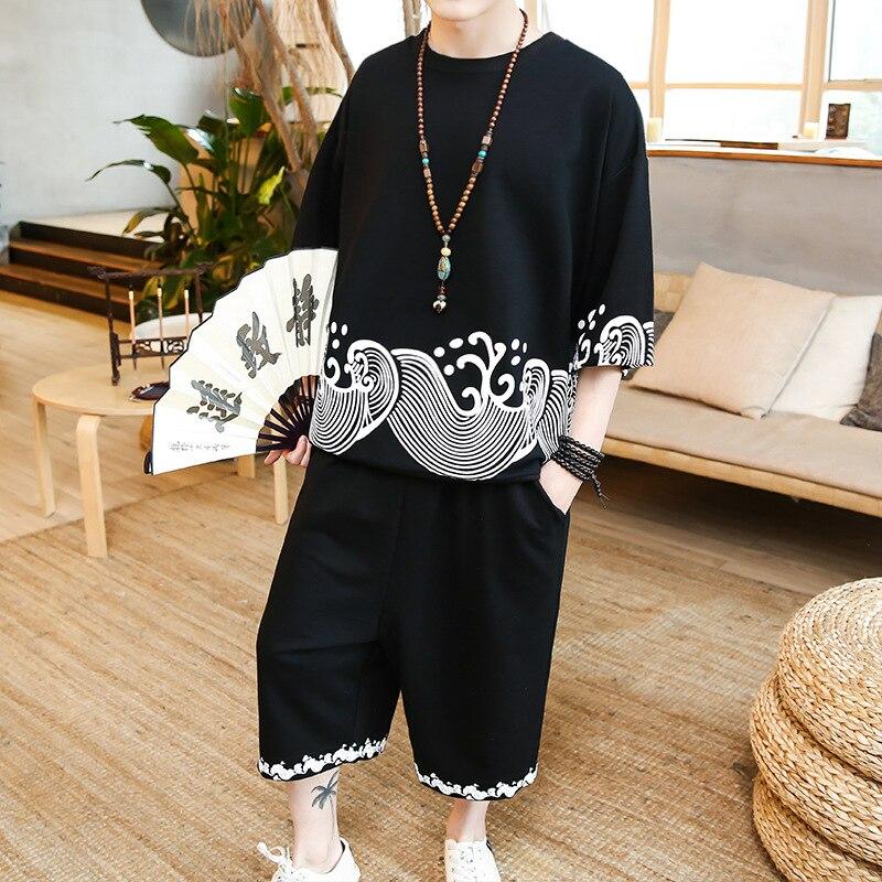 2019 Summer New Style MEN'S Casual Suit Short Sleeve T-shirt Capri Pants Big Wave Printed Cotton Linen Set