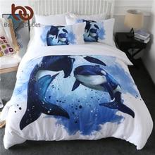 BeddingOutlet Orcinus Orca Bettbezug set Mörder Wale Tagesdecken Marine Leben Bettwäsche Set Ozean Blau Aquarell Bett Abdeckung 3 stücke