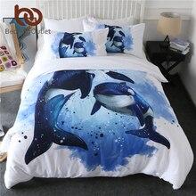 Beddingoutlet orcinusオルカ布団カバーセットシャチベッド海洋生物寝具セットオーシャンブルー水彩ベッドカバー3個