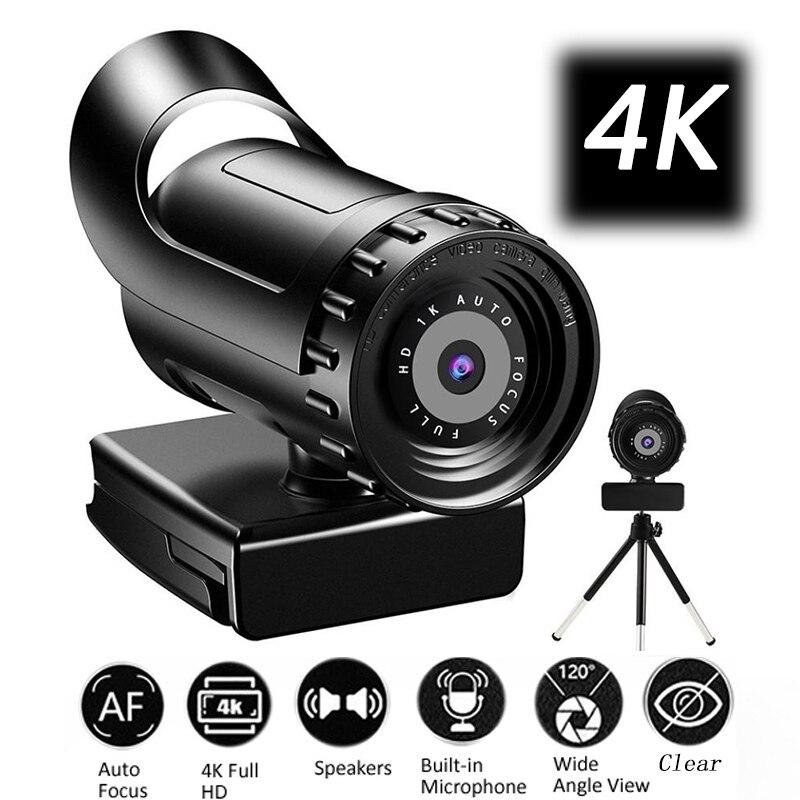 Веб-камера 4K 2K с автофокусом веб-камера для ПК Full HD 1080P широкоугольная камера с микрофоном для потокового видео-конференции