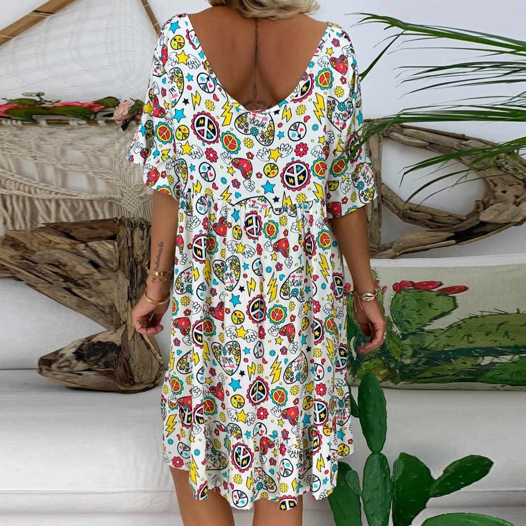 Jaycosin 5XLドレス女性ルースプリント半袖ミニサンドレス夏のドレスフリル自由奔放に生きる花柄vestidosファムプラスサイズ 7