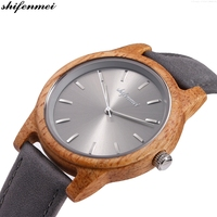shifenmei S5551 Wooden women / Men Watches PU Leather strap Hand quartz Wood Leather Bracelet lovers Watch Relojes Relogio