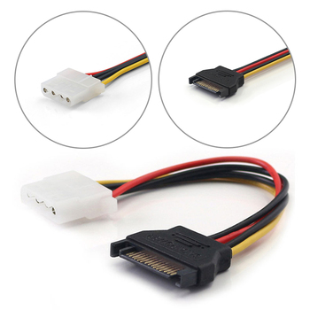 SATA To IDE Power Cable 15 Pin SATA Female To Molex IDE 4 Pin Male Adapter Extension Hard Drive Power Supply Cable For HD/CD/DVD image