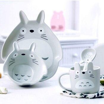 4 Uds. De vajilla de cerámica con forma de conejo de dibujos animados, regalo de Totoro, utensilios de cocina, accesorio, vajilla para el hogar, decoración del hogar