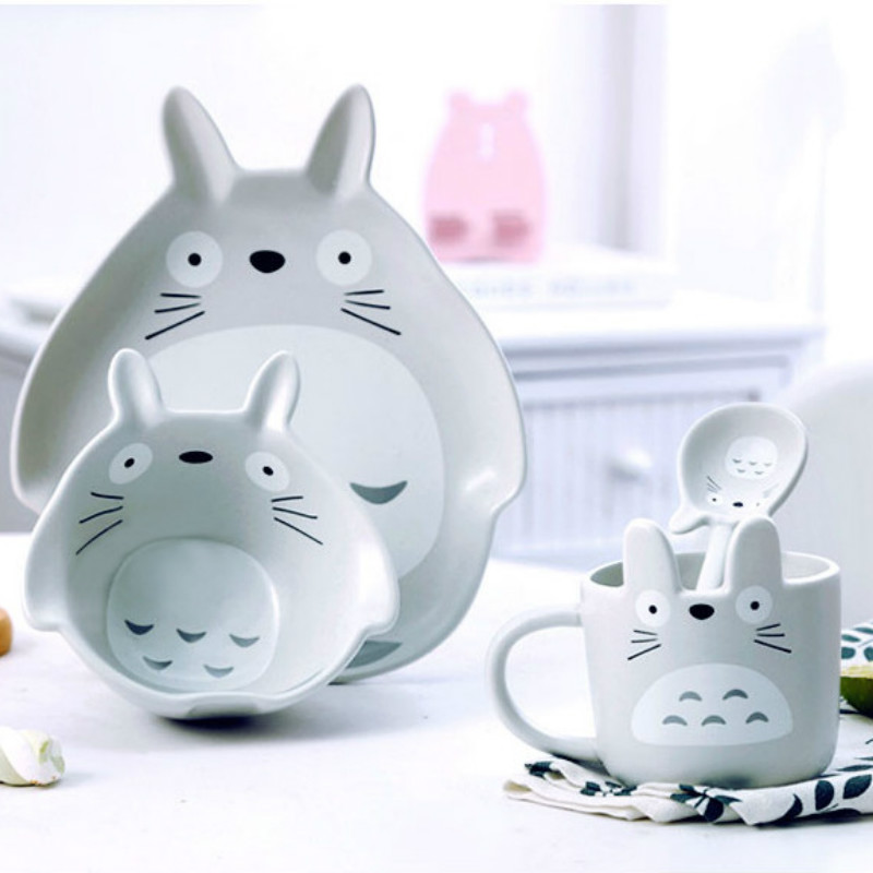 4pcs Ceramics Dinnerware Bowl Dish Cartoon Rabbit Totoro Gift Kitchen Cooking Tools Accessory Household Tableware Home Decor