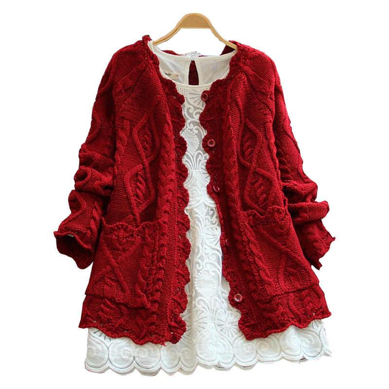 2019 가을 겨울 모리 소녀 스타일 여성 카디 건 솔리드 컬러 스웨터 니트 코 튼 짧은 자 켓 패션 소녀의 스웨터 코트