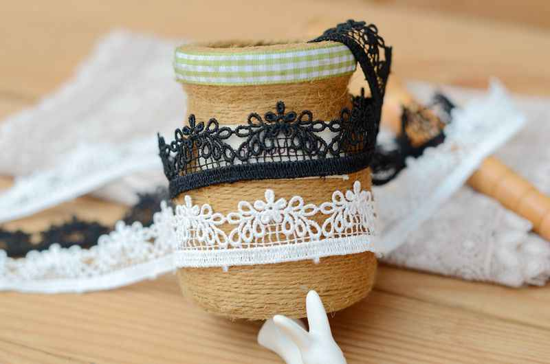Dantel aksesuarları siyah beyaz cheongsam elbise aksesuarları suda çözünür dantel genişliği 2 cm h0204