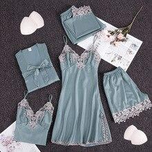 Women Pajamas Sets Satin Sleepwear Silk 5 Pieces Nightwear Pyjama Spaghetti Strap Lace Slee