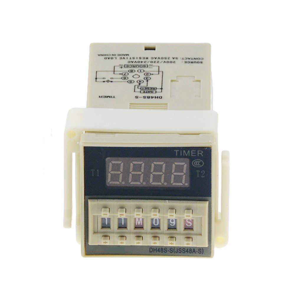 DH48S-S 0.1 s-990 h ca 110V 220V c. C 12V 24V Cycle de répétition SPDT Programmable temporisateur relais avec socle de prise DH48S Din Rail